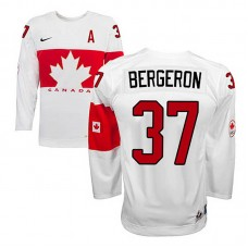 Youth Canada Team Patrice Bergeron #37 White Home Premier Olympic Jersey