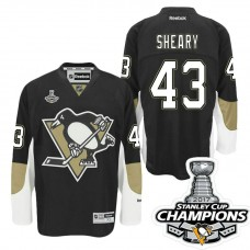 Pittsburgh Penguins #43 Conor Sheary Black Stanley Cup Champions Home Throwback Jersey