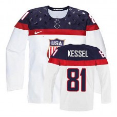 USA Team Phil Kessel #81 White Home Premier Olympic Jersey