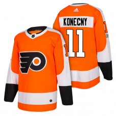 Philadelphia Flyers #11 Travis Konecny Orange 2018 New Season Authentic Team Home Jersey