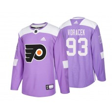 Philadelphia Flyers #93 Jakub Voracek Purple 2018 Adidas Authentic Hockey Fights Cancer Jersey