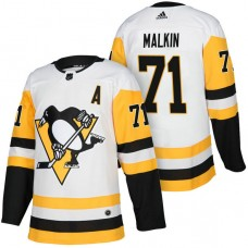 Pittsburgh Penguins #71 Evgeni Malkin White 2018 Season Authentic Team Away Jersey