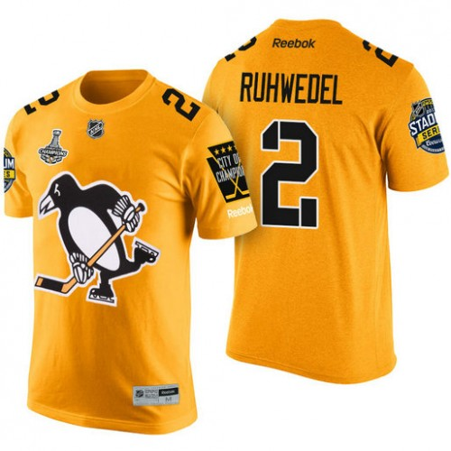 reputable site e87d9 c8017 Pittsburgh Penguins #2 Chad Ruhwedel Gold 2017 Stanley Cup ...