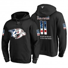 Nashville Predators #11 Eeli Tolvanen Banner Wave USA Flag with Message Black Hoodie