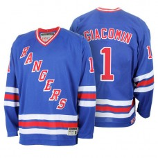 New York Rangers Eddie Giacomin #1 Blue Home Throwback Premier Jersey