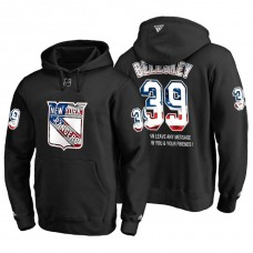 New York Rangers #39 Matt Beleskey Banner Wave USA Flag with Message Black Hoodie