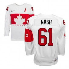 Youth Canada Team Rick Nash #61 White Home Premier Olympic Jersey