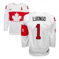 Youth Canada Team Roberto Luongo #1 White Home Premier Olympic Jersey