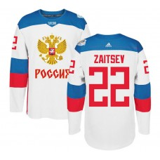 Russia Team 2016 World Cup of Hockey #22 Nikita Zaitsev White Premier Jersey