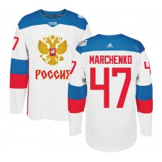 Russia Team 2016 World Cup of Hockey #47 Alexey Marchenko White Premier Jersey
