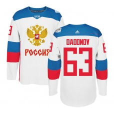 Russia Team 2016 World Cup of Hockey #63 Evgenii Dadonov White Premier Jersey