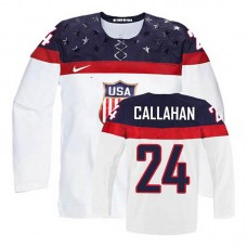 USA Team Ryan Callahan #24 White Home Premier Olympic Jersey