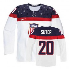 Women's USA Team Ryan Suter #20 White Home Premier Olympic Jersey