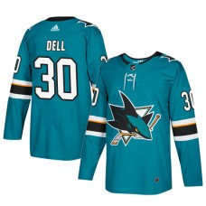 San Jose Sharks #30 Teal Authentic Home Aaron Dell Jersey