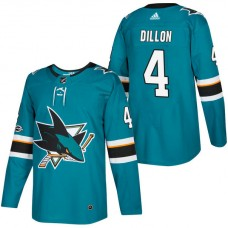 San Jose Sharks #4 Brenden Dillon Teal 2018 New Season Home Authentic Jersey With Anniversary Patch