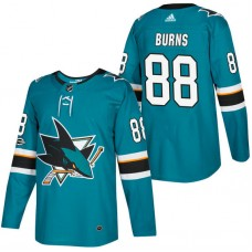 San Jose Sharks #88 Brent Burns Teal 2018 New Season Home Authentic Jersey With Anniversary Patch