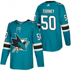 San Jose Sharks #50 Chris Tierney Teal 2018 New Season Home Authentic Jersey With Anniversary Patch