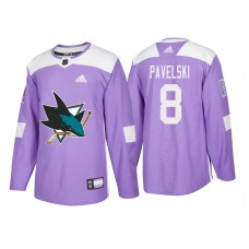 San Jose Sharks #8 Joe Pavelski Purple 2018 Adidas Authentic Hockey Fights Cancer Jersey