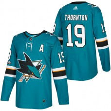 San Jose Sharks #19 Joe Thornton Teal 2018 New Season Home Authentic Jersey With Anniversary Patch