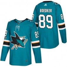 San Jose Sharks #89 Mikkel Boedker Teal 2018 New Season Home Authentic Jersey With Anniversary Patch
