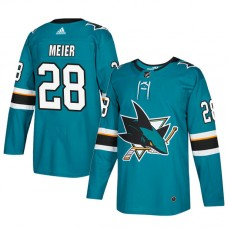 San Jose Sharks #28 Teal Authentic Home Timo Meier Jersey