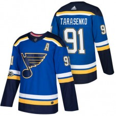 St. Louis Blues #91 Vladimir Tarasenko Blue 2018 New Season Home Authentic Jersey With Anniversary Patch