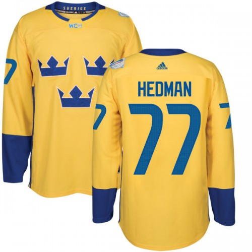 Sweden Team 2016 World Cup of Hockey  77 Victor Hedman Yellow Premier Jersey 7366a18e0