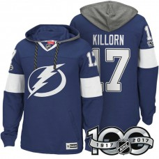 Tampa Bay Lightning #17 Alex Killorn Blue 2017 Anniversary Patch Hoodie