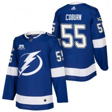 Tampa Bay Lightning #55 Braydon Coburn Blue 2018 New Season Home Authentic Jersey With Anniversary Patch