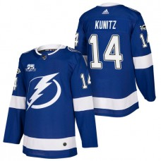 Tampa Bay Lightning #14 Chris Kunitz Blue 2018 New Season Home Authentic Jersey With Anniversary Patch