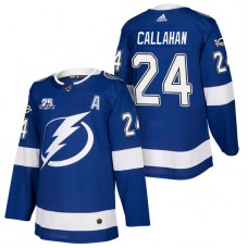 Tampa Bay Lightning #24 Ryan Callahan Blue 2018 New Season Home Authentic Jersey With Anniversary Patch