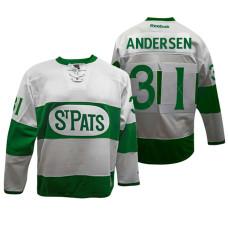 Toronto Maple Leafs  31 Frederik Andersen White Toronto St. Pats Throwback  Jersey 605843a77