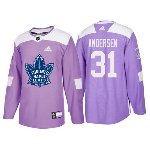 super popular 005df 56cce Toronto Maple Leafs #31 Frederik Andersen Purple Hockey ...
