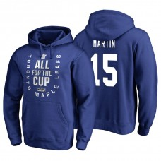 Toronto Maple Leafs #15 Matt Martin Blue 2018 Stanley Cup Playoffs Hoodie