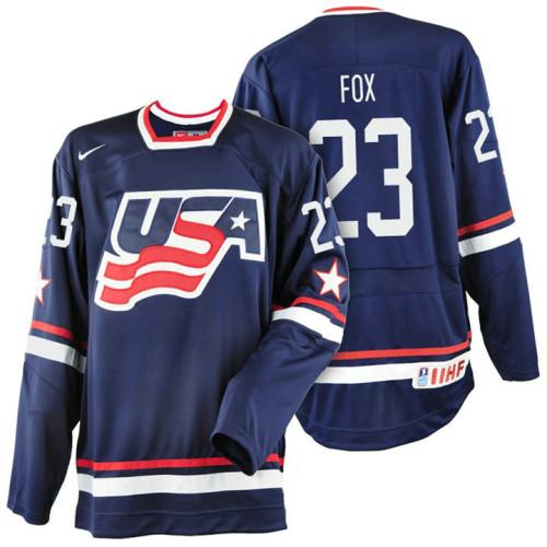 USA Team  23 Adam Fox Navy Blue 2017 WJSS Team Young Player Underway Jersey 7390bfa88