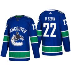 Vancouver Canucks #22 Daniel Sedin Blue 2017-2018 Season Home Jersey