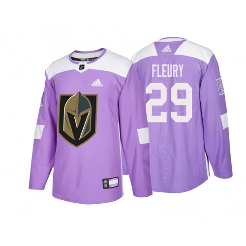 b3ab3d799de Vegas Golden Knights #29 Marc-Andre Fleury Purple 2018 Adidas Authentic  Hockey Fights Cancer Jersey