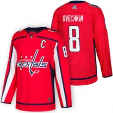 Washington Capitals #8 Alex Ovechkin Red 2018 New Season Home Authentic Jersey With Anniversary Patch