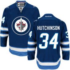 Winnipeg Jets #34 Michael Hutchinson Navy Blue Home Premier Player Jersey