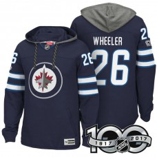 Winnipeg Jets #26 Blake Wheeler Navy 2017 Anniversary Patch Hoodie