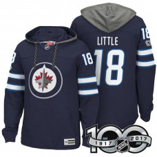 Winnipeg Jets #18 Bryan Little Navy 2017 Anniversary Patch Hoodie