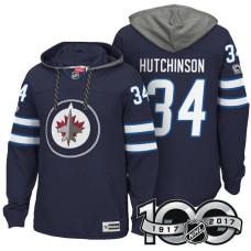 Winnipeg Jets #34 Michael Hutchinson Navy 2017 Anniversary Patch Hoodie