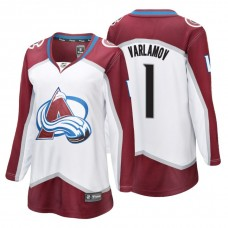 Women's Colorado Avalanche #1 Semyon Varlamov Fanatics Branded Breakaway White Away jersey