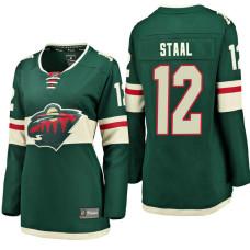 Women's #12 Eric Staal Green Breakaway Fanatics branded Jersey Minnesota Wild