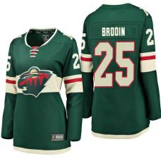 Women's #25 Jonas Brodin Green Breakaway Fanatics branded Jersey Minnesota Wild