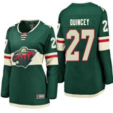 Women's #27 Kyle Quincey Green Breakaway Fanatics branded Jersey Minnesota Wild