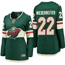 Women's #22 Nino Niederreiter Green Breakaway Fanatics branded Jersey Minnesota Wild