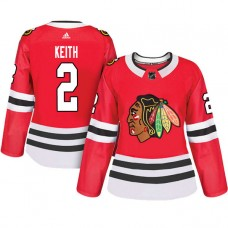 Women's Chicago Blackhawks #2 Duncan Keith Red Adizero Player Home Jersey