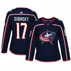 Women's Columbus Blue Jackets #17 Brandon Dubinsky Navy Adizero Player Home Jersey