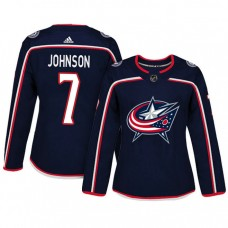 Women's Columbus Blue Jackets #7 Jack Johnson Navy Adizero Player Home Jersey